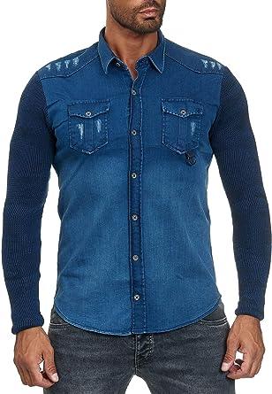 Camisa de Hombre Jeans Look Camisa de Manga Larga Chaqueta: Amazon.es: Ropa y accesorios