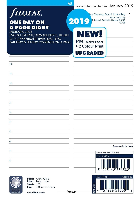 Filofax 19-68515 - Agenda 2019 (tamaño A5, por página, 5 idiomas)