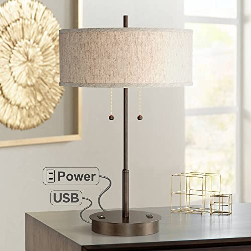 Nikola Modern Table Lamp with Hotel Style USB and AC Power Outlet in Base Bronze Fabric Drum Shade for Living Room Bedroom Office – 360 Lighting