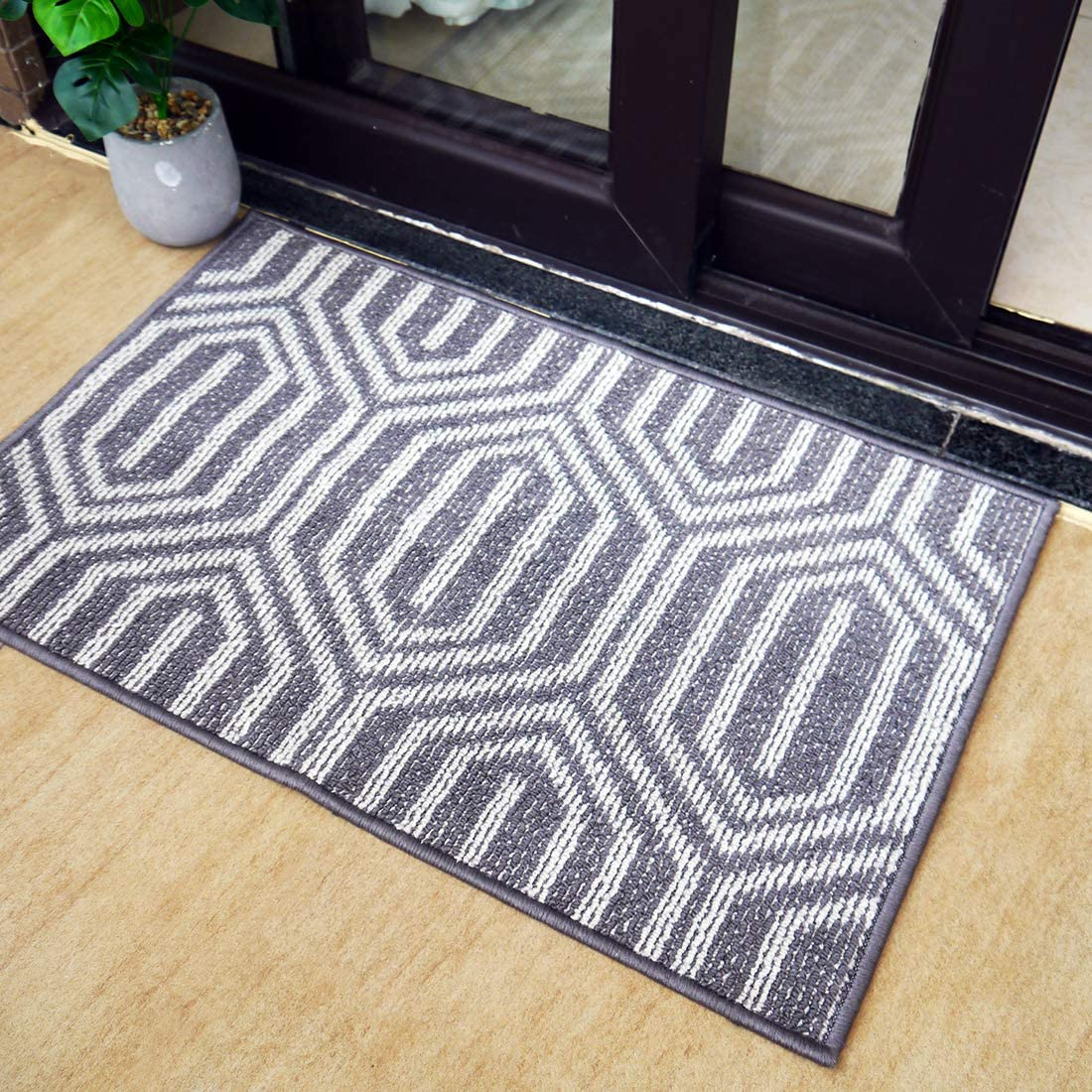 "Indoor Doormat Entrance,Outdoor Mat for Front Door, Waterproof and No-Slip Inside Floor Rubber Carpets Washable Area Rug for Home, Entry, Bathroom, Living Room, 20"" X 32""Grey-Time Cloister"