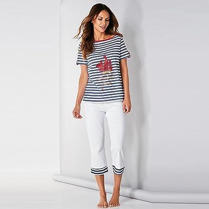 Pijama camiseta de escote barco con vivo a contraste by VencaStyle, RAYAS ROJO/BLANCO, S: Amazon.es: Ropa y accesorios