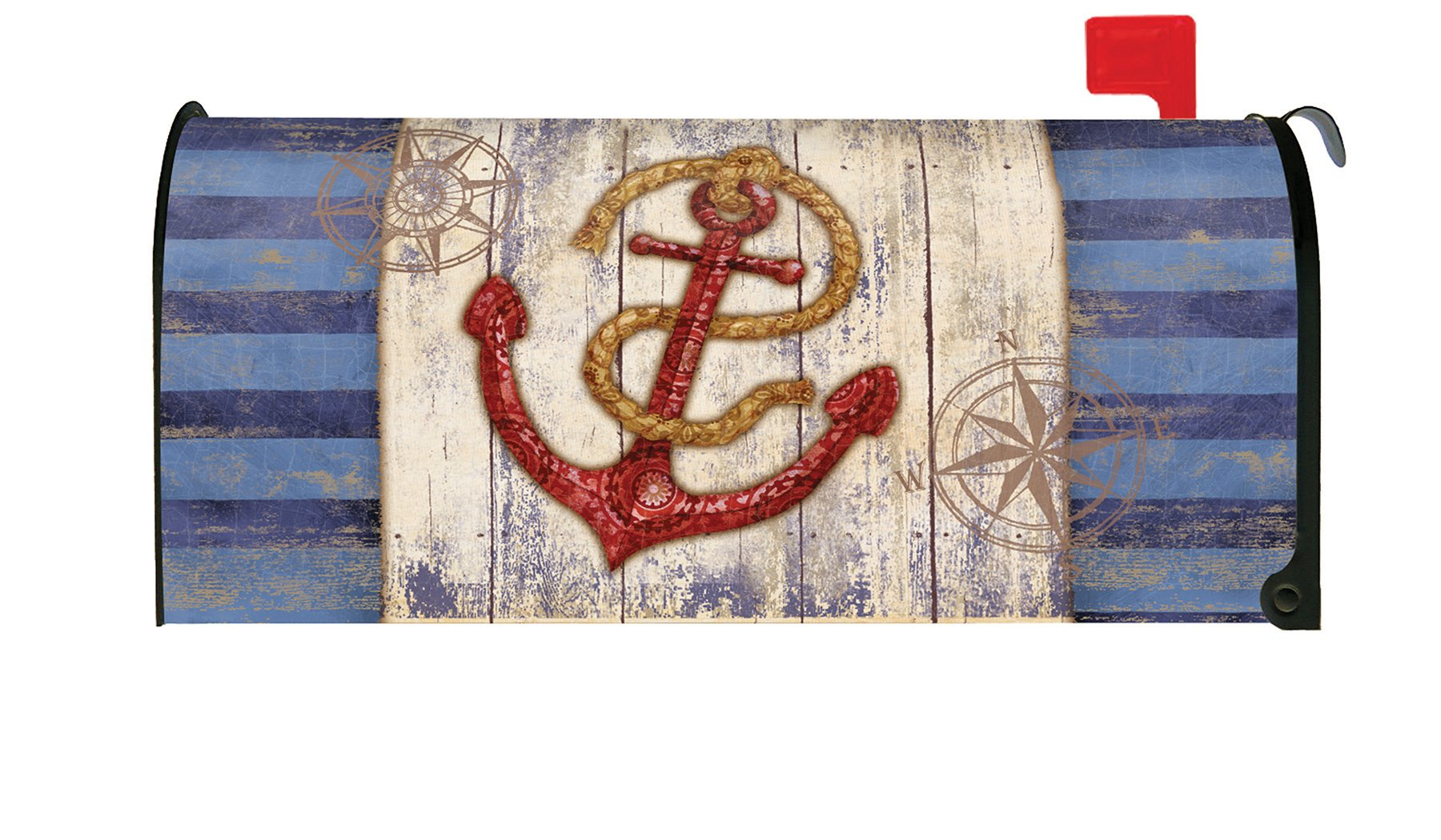 Toland Home Garden Rustic Anchor and Compass Nautical Maritime Magnetic Mailbox Cover