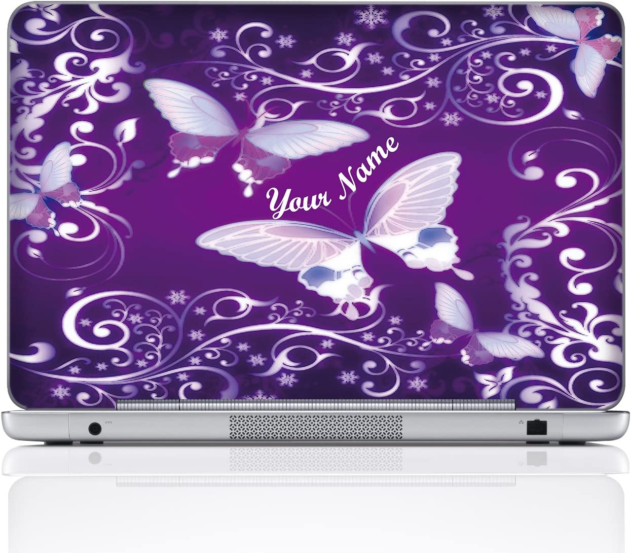 Meffort Inc Personalized Laptop Notebook Skin Sticker Cover Art Decal, Customize Your Name (15.6 Inch, Purple Butterfly)