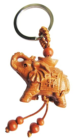 Wkr6 Beautiful Peach Wood Fengshui Lucky Elephant Keychain Key Ring