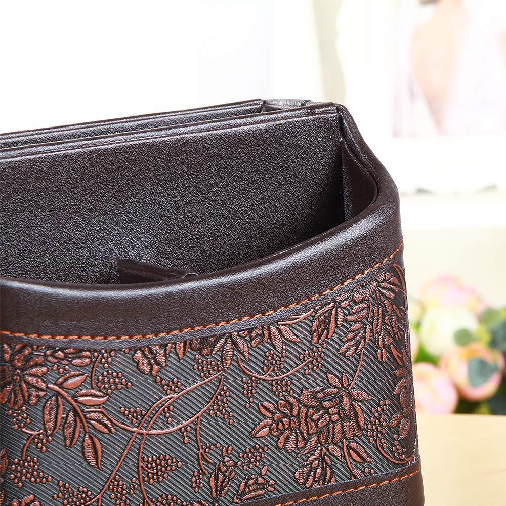 YAPISHI PU Leather 360 Degrees Rotatable Organizer Remote Control/Controller Organizer, Spinning TV Guide/Mail/Media Desktop Organizer Caddy Holder (Brown Embroidery) by YAPISHI (Image #3)