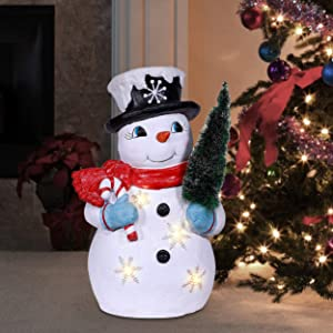Alpine Corporation QWR952 Alpine Tree Grabbing Snowman with LED Lights, Indoor Festive Decor for Home Holiday décor, Multi
