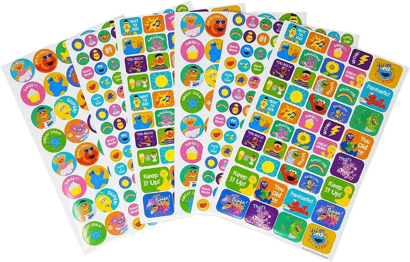 Sesame Street 400+ Fun & Reward Sticker Book, Motivational and Encouraging Stickers, 6 Sheets