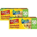 Glad Sandwich Zipper Bags, 2 x 50 Bags