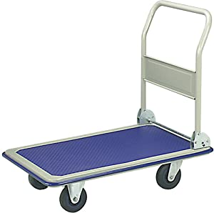 ALEKO PH330BL Push Hand Truck Folding Platform Cart 4 Wheel Dolly 330 Pound Capacity Blue