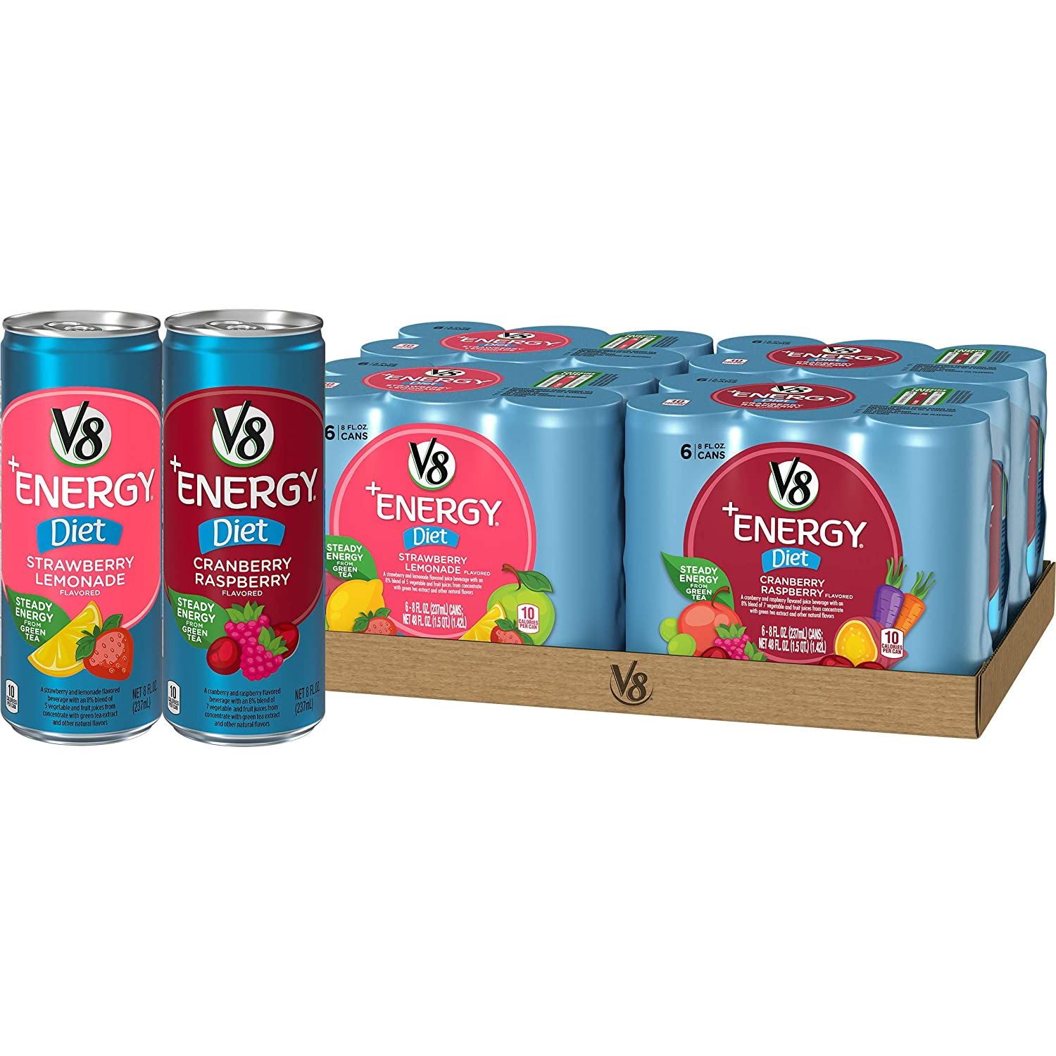 V8 +Energy Diet Variety Pack, Healthy Energy Drink, Diet Strawberry Lemonade and Diet Cranberry Raspberry, 8 Ounce Can (4 Packs of 6, Total of 24)