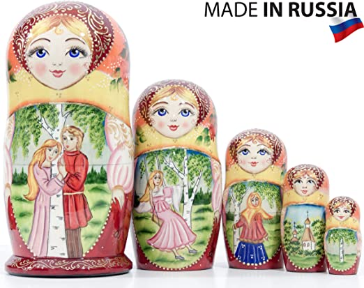 7pcs Russian Wooden Nesting Dolls Colorful Traditional Matryoshka Hand Painted