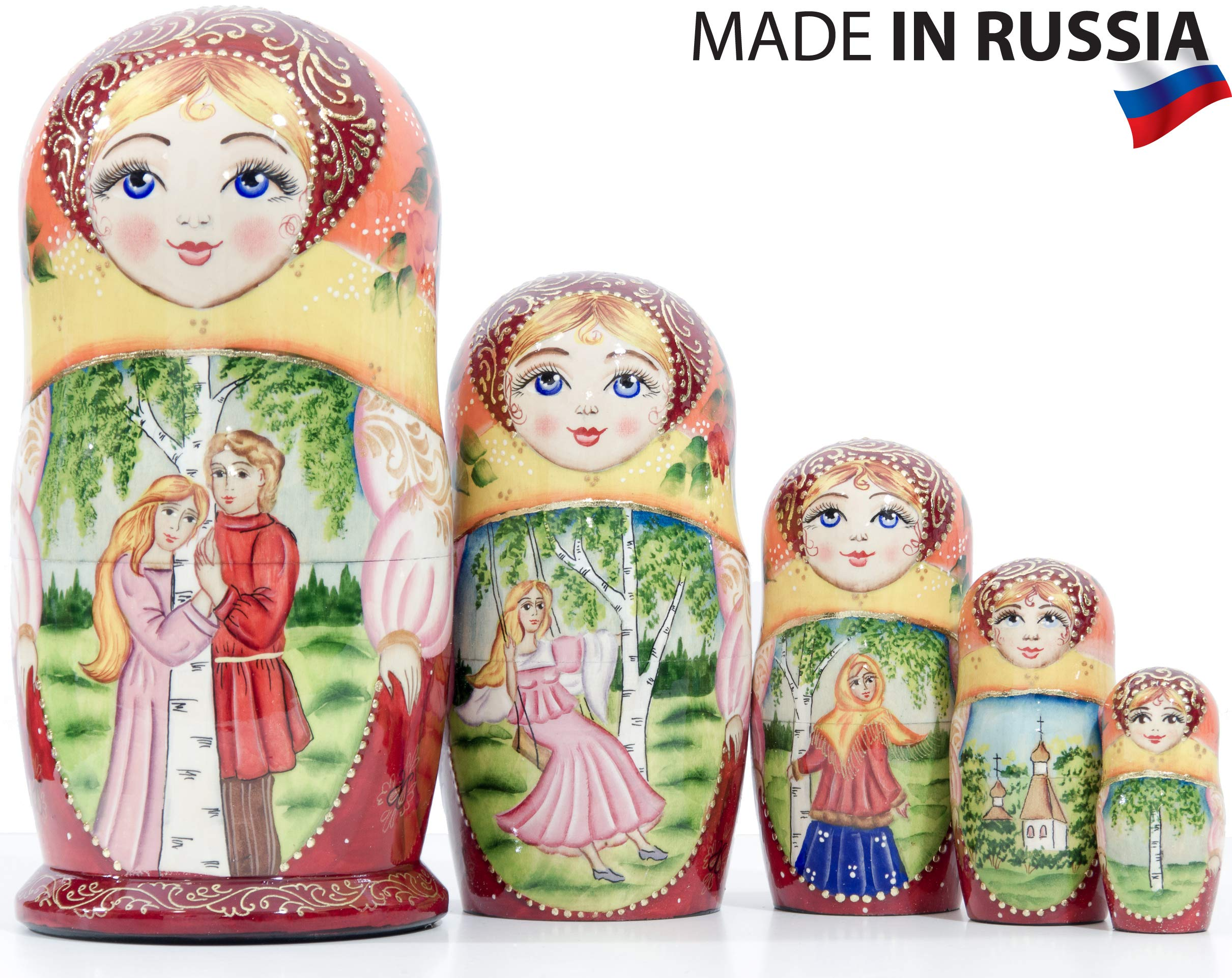 Russian Nesting Doll - Village Scenes - Hand Painted in Russia - 5 Color/Size Variations - Traditional Matryoshka Babushka (6.75``(5 Dolls in 1), Scene L) by craftsfromrussia (Image #1)