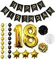 Globos Cumpleaños Happy Birthday #18, Suministros y Decoración por Belle Vous - Globo Grande de Aluminio 18 Años - Decoración Globos De Látex Dorado, Blanco y Negro - Apto para Todos los Adultos