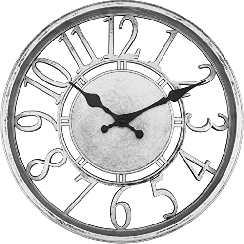 Foxtop Silver Contour Wall Clock 12 inch Silent Non-Ticking Round Quartz Decorative Battery Operated Retro Wall Clock
