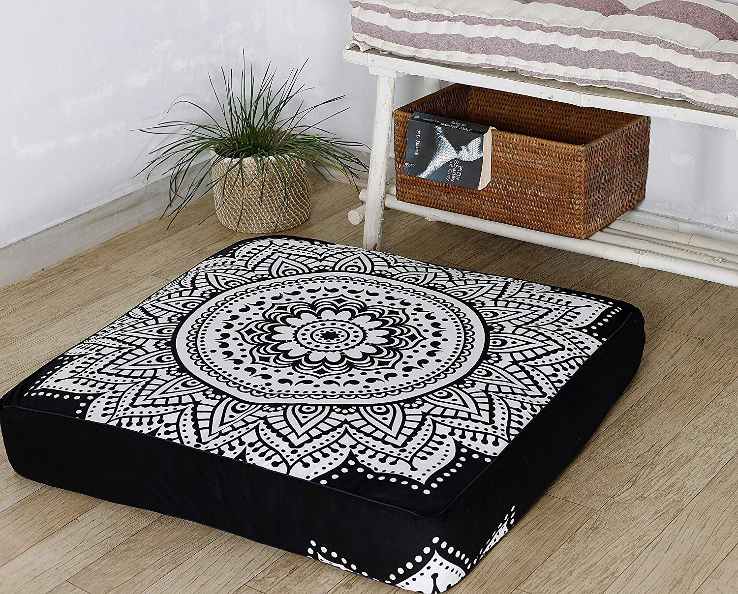 Indian Mandala Black & White Floor Pillow Cover Square Ottoman Pouf Cover Daybed Oversized Cotton Cushion Cover with Heavy Duty Zipper Seating Ottoman Poufs Dog-Pets Bed 35'' by Hemsi-77