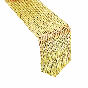 Metable Table Runner With Sparkling Plastic Diamond Strip Rhinestone Mesh  Bed Runner For Wedding Party Decor