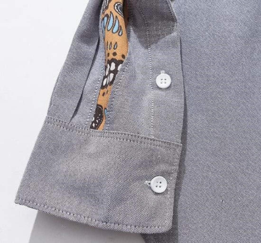 Jofemuho Mens Slim Button Up Long Sleeve Print Stitching Button Down Dress Work Shirt