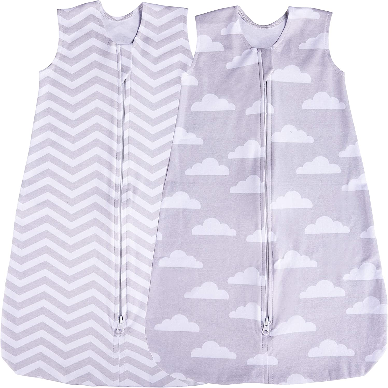 Saco de Dormir para bebé, Paquete de 2 Mantas, Verano (Nube/Chevron) Gris Nube/Chevron Talla:6-12 Meses