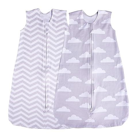 Jomolly - Saco de Dormir para bebé (2 Unidades), Color Azul Gris Cloud