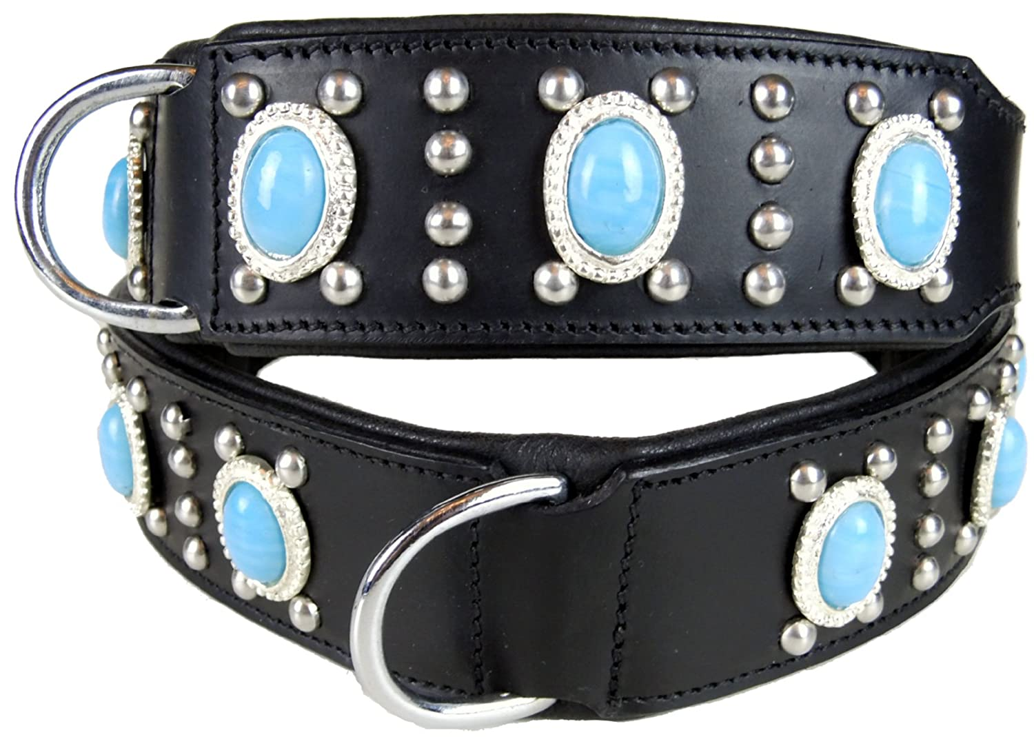 60 cm x 4.5 cm Leather collar empire Cowhide Black with Turquoise Stones – Extra-Wide – Dogs Stars
