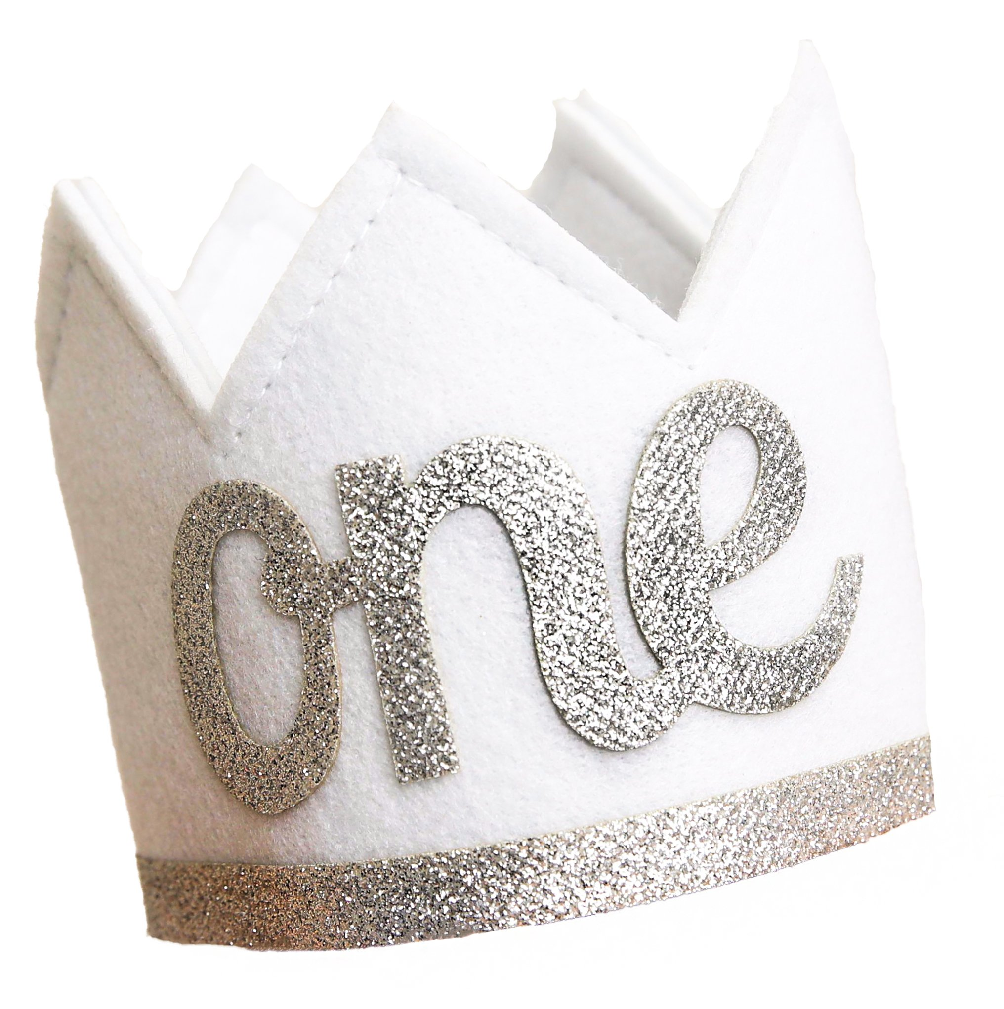 Baby Girl and Boy FIRST BIRTHDAY Sparkly Silver ONE Crown I Am 1