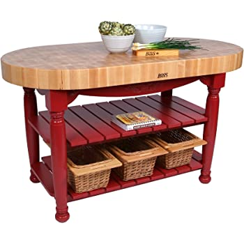 Amazon.com: American Heritage Harvest Kitchen Island with Butcher Block Top Base Finish: Barn ...