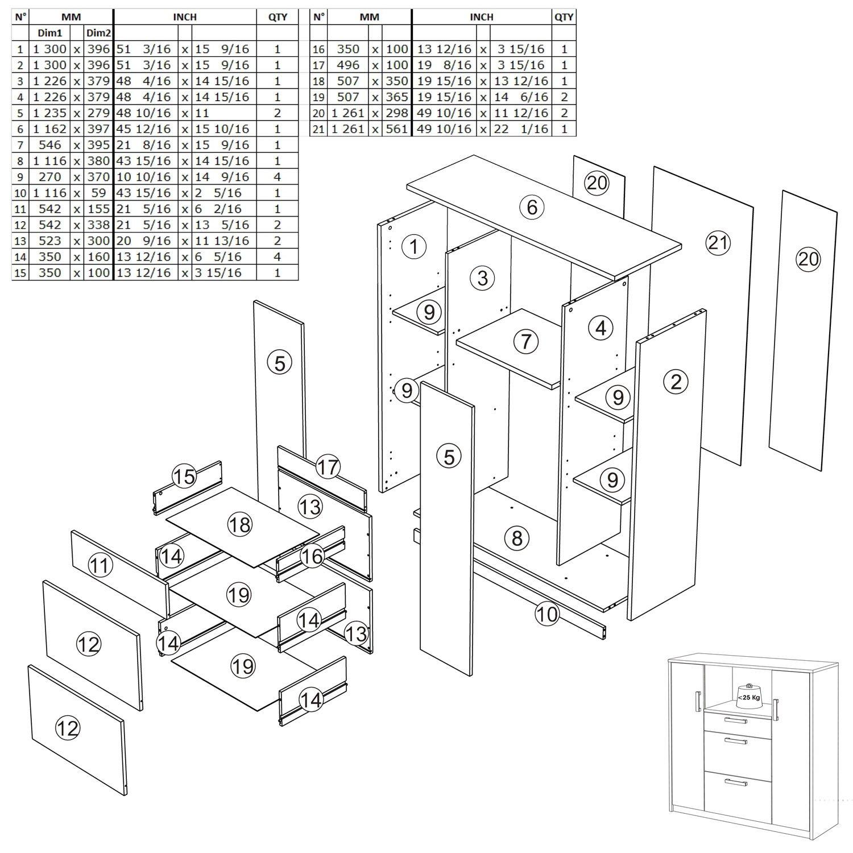 habeig Moderner Küchenschrank #8540 weiß Grau Miniküche Küchenzeile ...