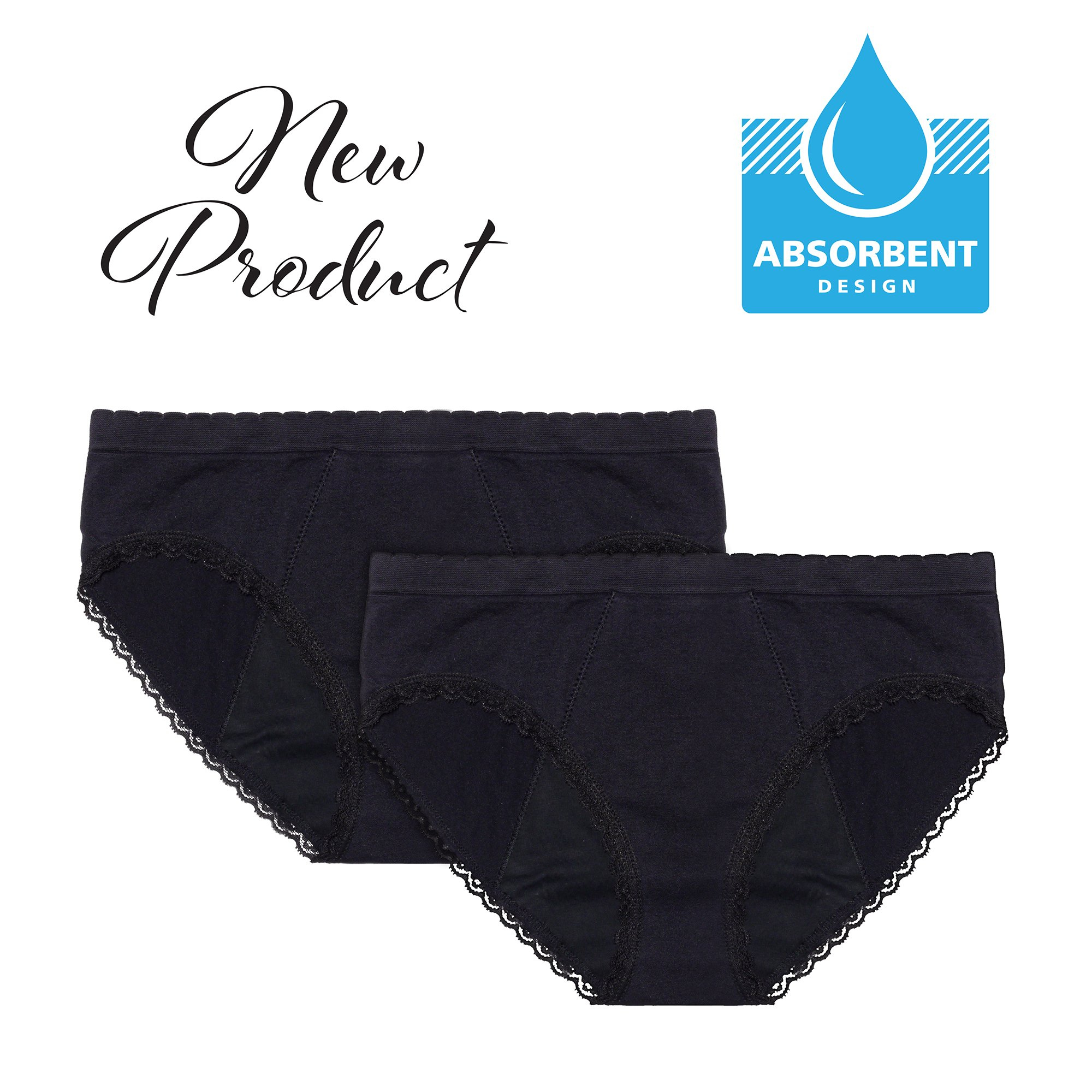 EvaWear 2 Pack Menstrual Period Light Incontinence Panty, Absorbent, Hypoallergenic, Various Styles (Medium Hipster, Black)
