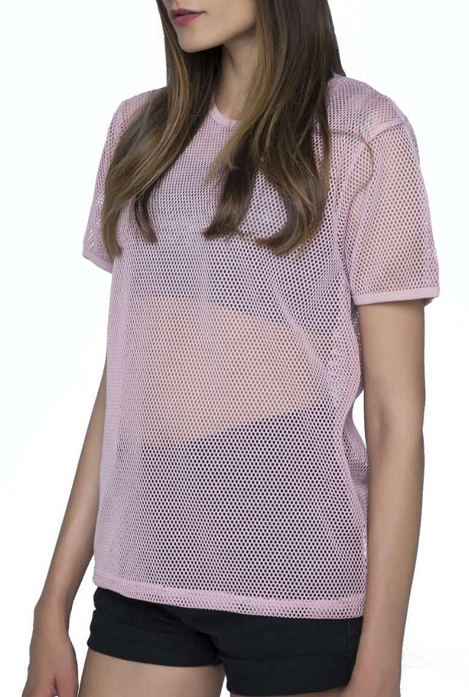 SPECIALMAGIC Fashion Short Sleeve See Through Sheer Mesh T Shirt Top Pink S