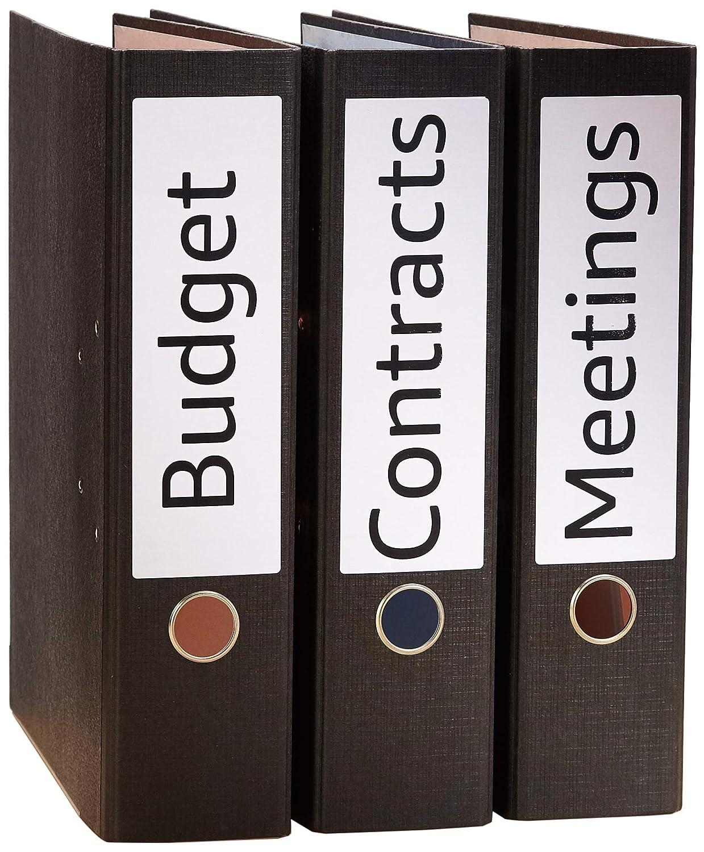 Basics 25 fogli 100 etichette 4 etichette per foglio Etichette autoadesive per raccoglitori 200mm x 60mm