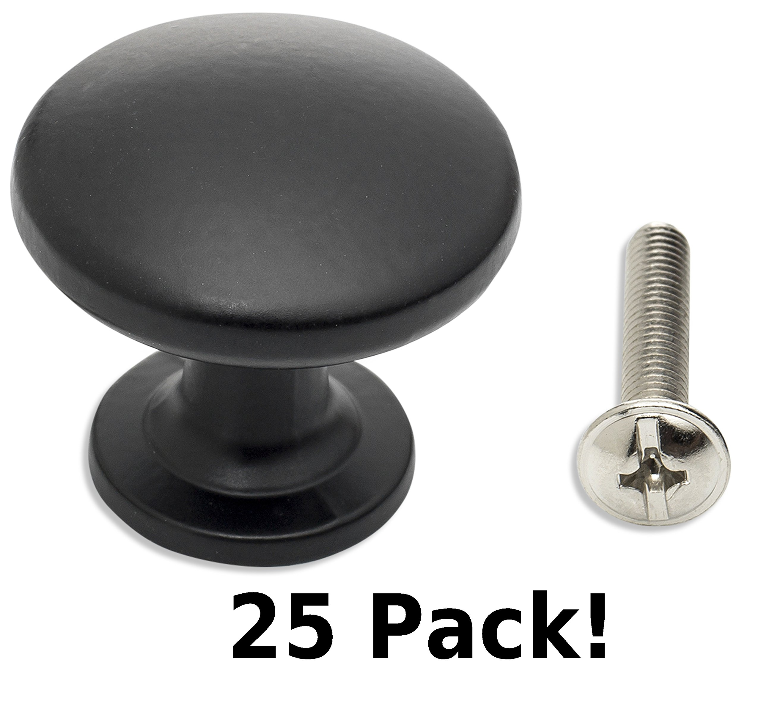 Black Cabinet & Drawer Knobs—Round Knobs for Kitchen Cabinet, Bathroom, 1-3/16 inch. (25 pack) by Frontier Hardware