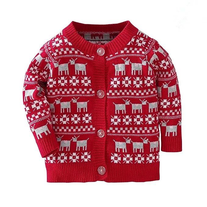 fd6996ab139b Amazon.com  Baby Boys Girls Cardigans V-neck Solid Cartoon Sweaters ...