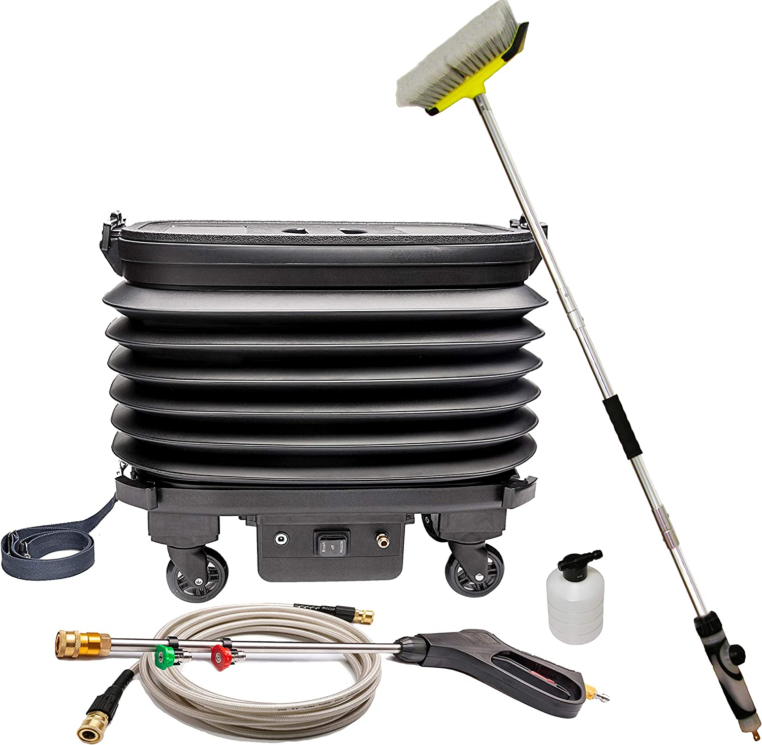 Caraid Portable and Foldable Pressure Washer with Built-in Rechargeable Battery, Car Washer with Water Tank