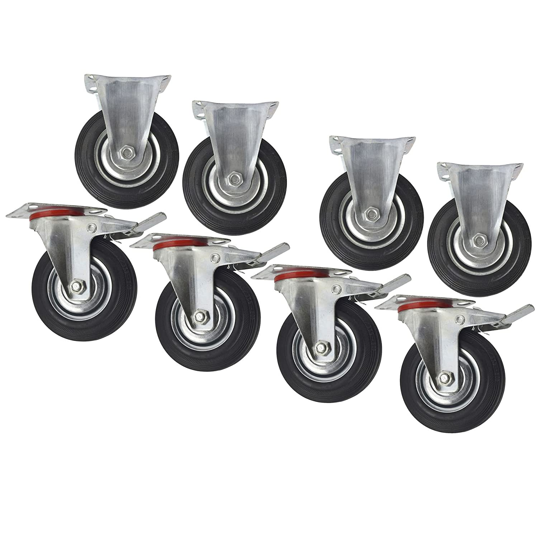5' (125 mm) gomma fisse e girevoli con freno ruote piroettanti (8 pack) CST06_08 AB Tools