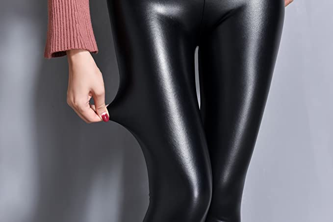 7a23e7dec79ee3 IRELIA Womens Sexy Faux Leather High Waisted Brushed Leggings Long Pants at  Amazon Women's Clothing store: