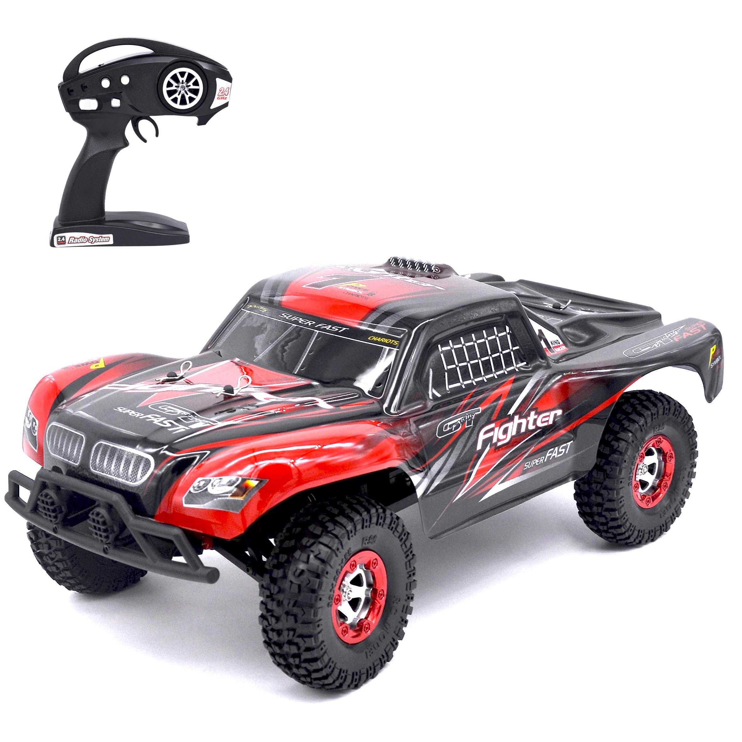 KELIWOW Electric High Speed RC Truck,1/12 4WD RC Buggy 2.4GHz Remote Control Car,40+MPH RC Rock Off-Road Crawler Brushless RTR,Red