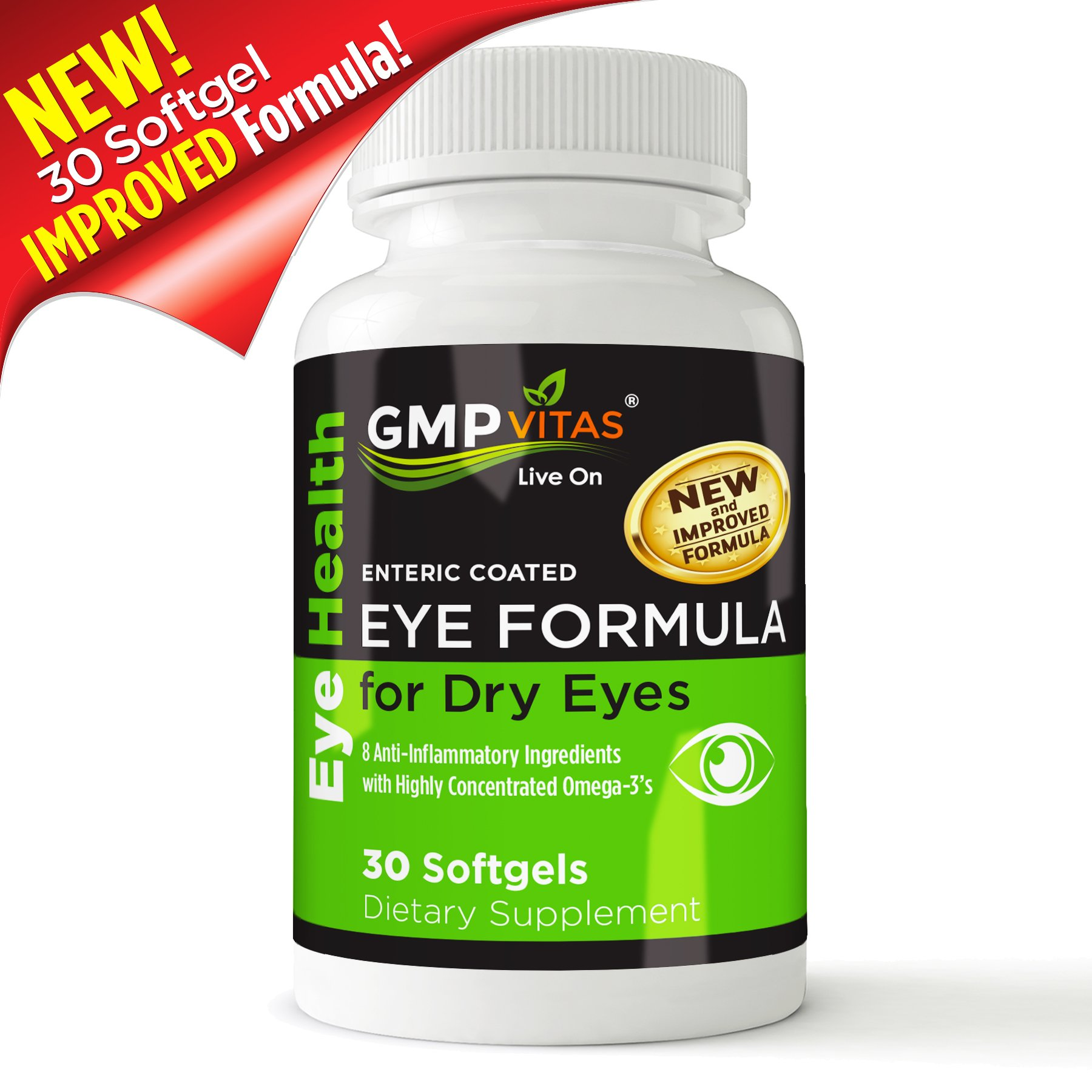 GMPVitas Enteric Coated Eye Formula- High Potency Omega-3 Supplement with Lutein, Astaxanthin Hyaluronic Acid, Vitamin C and E (3) by GMP Vitas (Image #2)