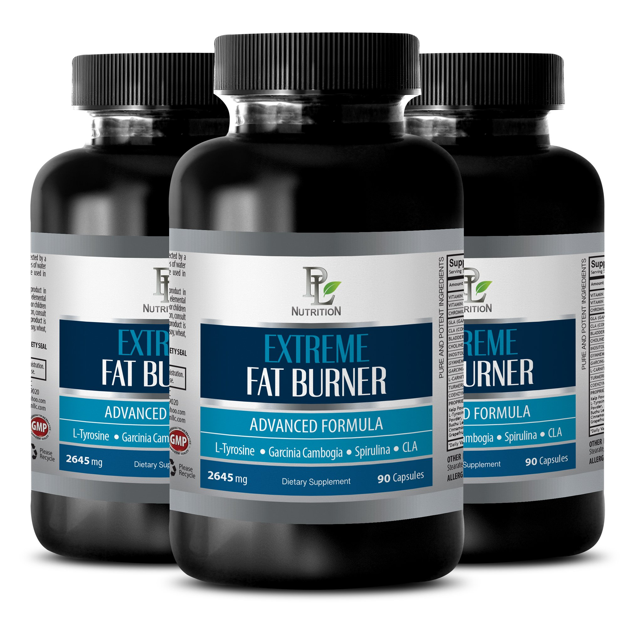 immune system dietary supplement - EXTREME FAT BURNER - 2645MG - energy and metabolism - 3 Bottles (270 Capsules)