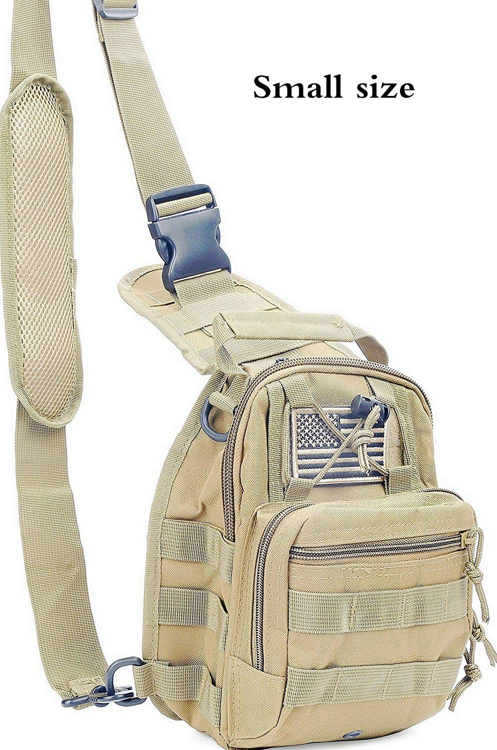 boxuan Tactical Sling Bag Pack Military Rover Shoulder Sling Backpack EDC Molle Assault Range Bags Day Pack with Tactical USA Flag Patch (Medium /& Small Sizes) boxuan2017612