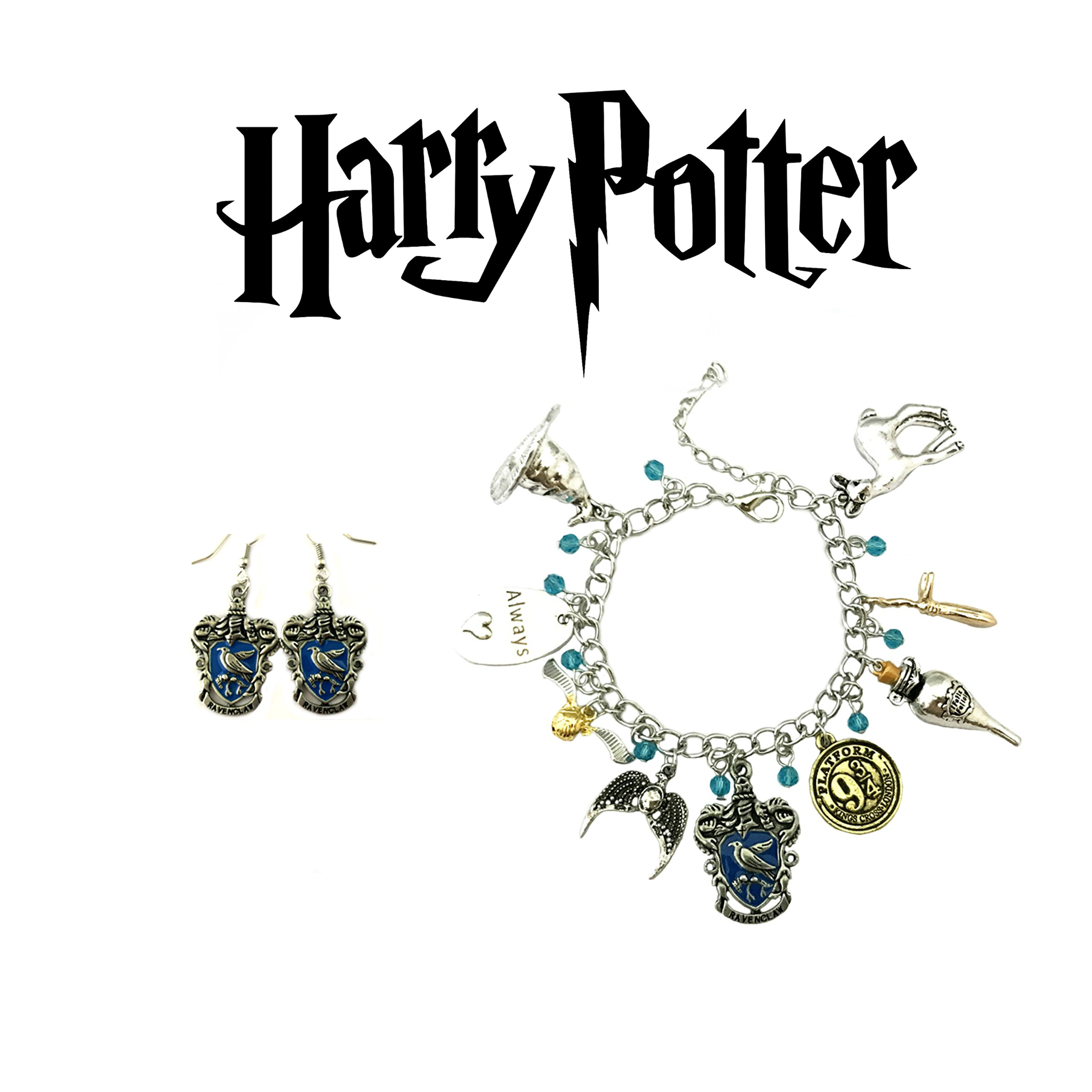 Harry Potter Bracelet and Earrings Ravenclaw House Crests 2 Pack Gift Set Logo Character Theme CosplayJewelry Gift Series