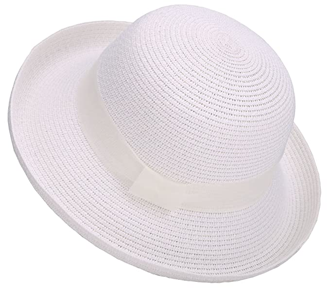 1930s Style Hats | Buy 30s Ladies Hats Lullaby Womens Foldable UPF 50+ Structured Curved Wide Brim Bucket Straw Sun Hat $12.74 AT vintagedancer.com