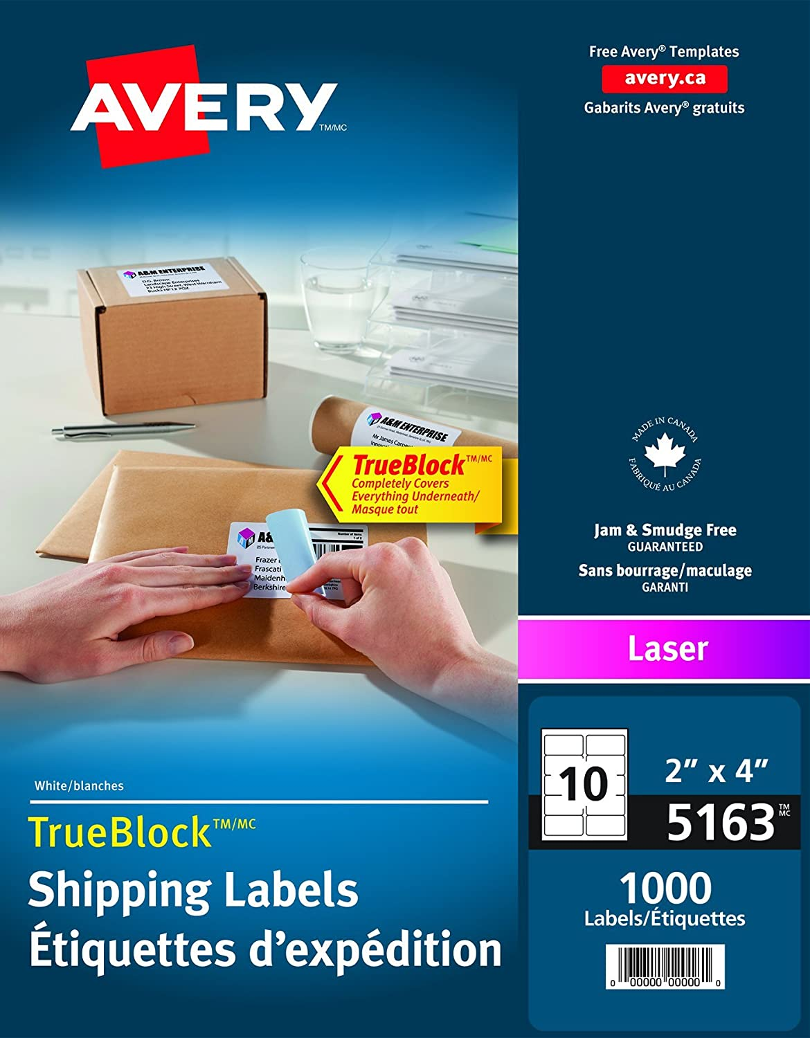Avery Shipping Labels with True Block for Laser Printers, 2 x 4, White, Rectangle, 1000 Labels, Permanent (5163) Made in Canada 2 x 4 67933051639