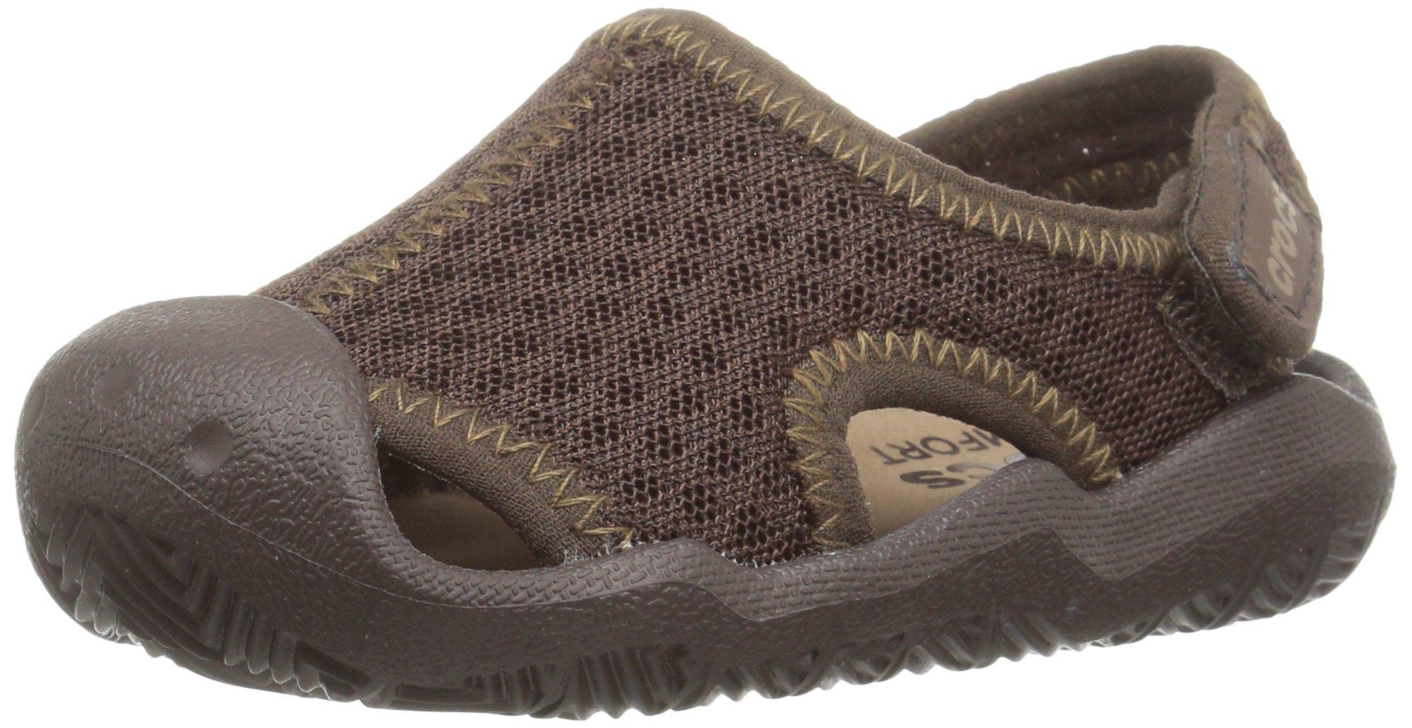 Crocs Kids' Swiftwater Sandal,Espresso/Khaki,10 M US Toddler