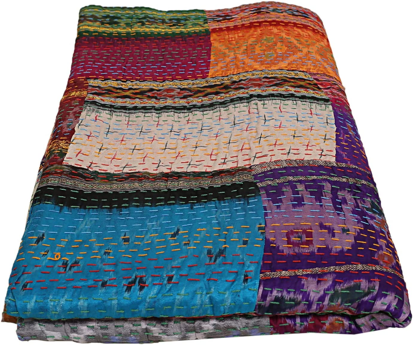 Indian-Shoppers Bohemian Pure Silk Kantha Blanket Hand Quilted Silk Throw Twin Bedding Decor Indian Kantha Quilts Handmade Reversible Vintage Saree Twin Patchwork Bedroom Coverlets Hippie Multi Patch