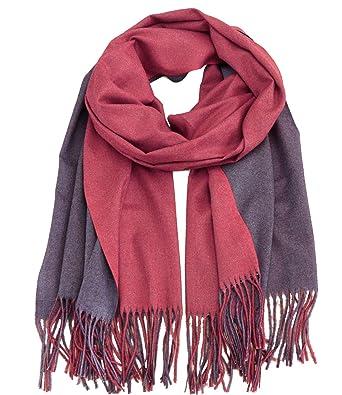 3b6c7ced731474 Caripe Winterschal Damen XXL Viskose Wolle warm groß Winter Schal Stola  zweifarbig- S8769 (bordeaux