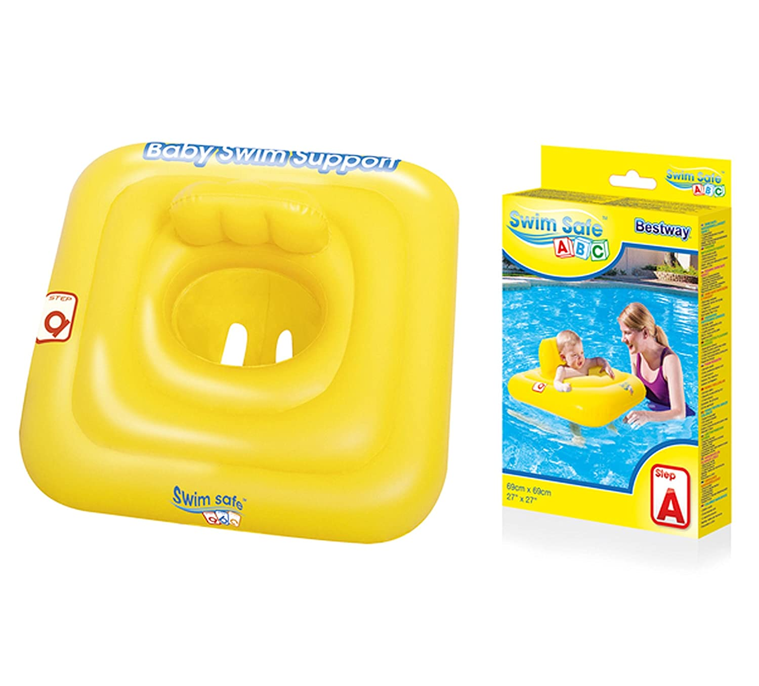 Bestway Baby Swim Safe Seat (Step A) Learn to Swim Square Inflatable,Yellow, 0-12 Months Jakabel BW32050