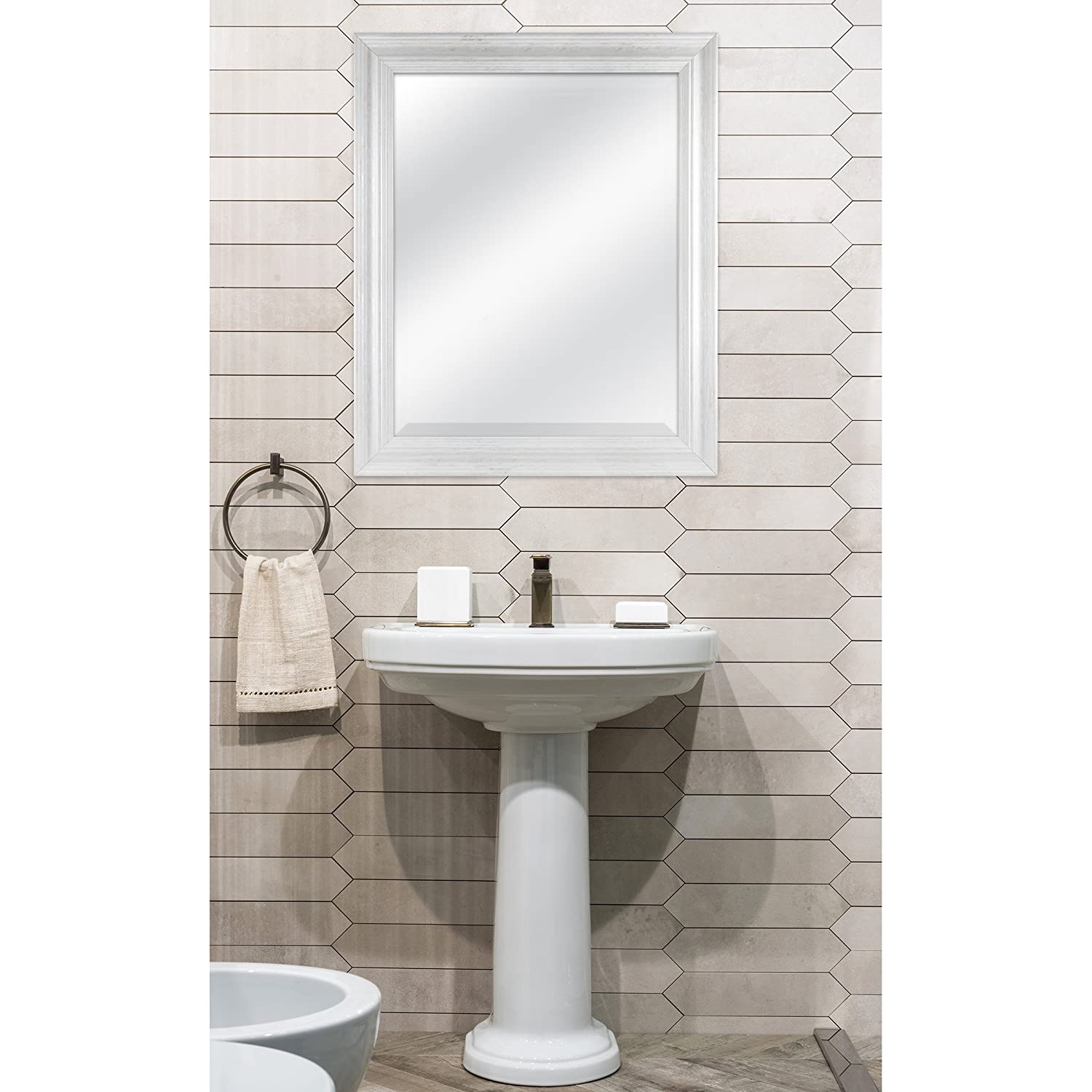 White Wash Finish 20548 MCS Industries MCS 22 by 28 inch Scoop Mirror 27.5 by 33.5 inch Outside Dimension