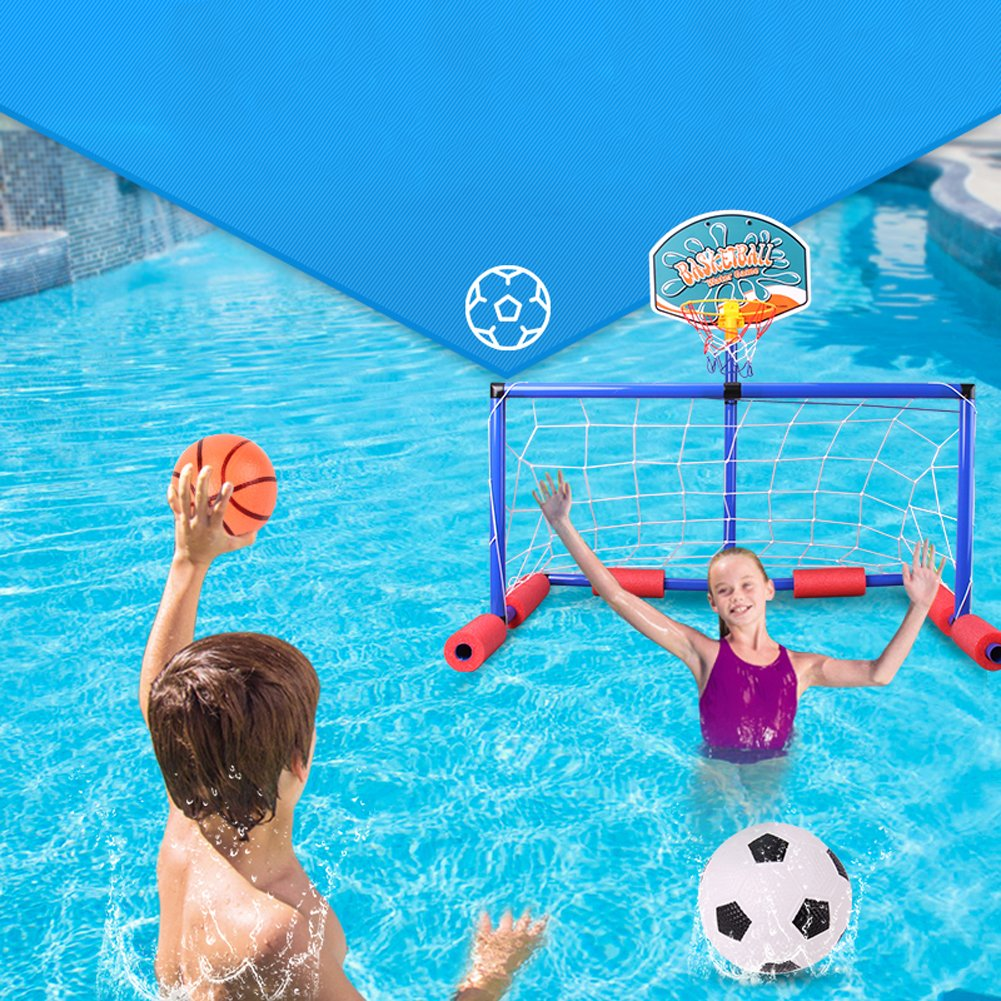 2 en 1 Basketball Hoop y Soccer Goal Pool Training LJXiioo Football Soccer Goal Flotante para ni/ños