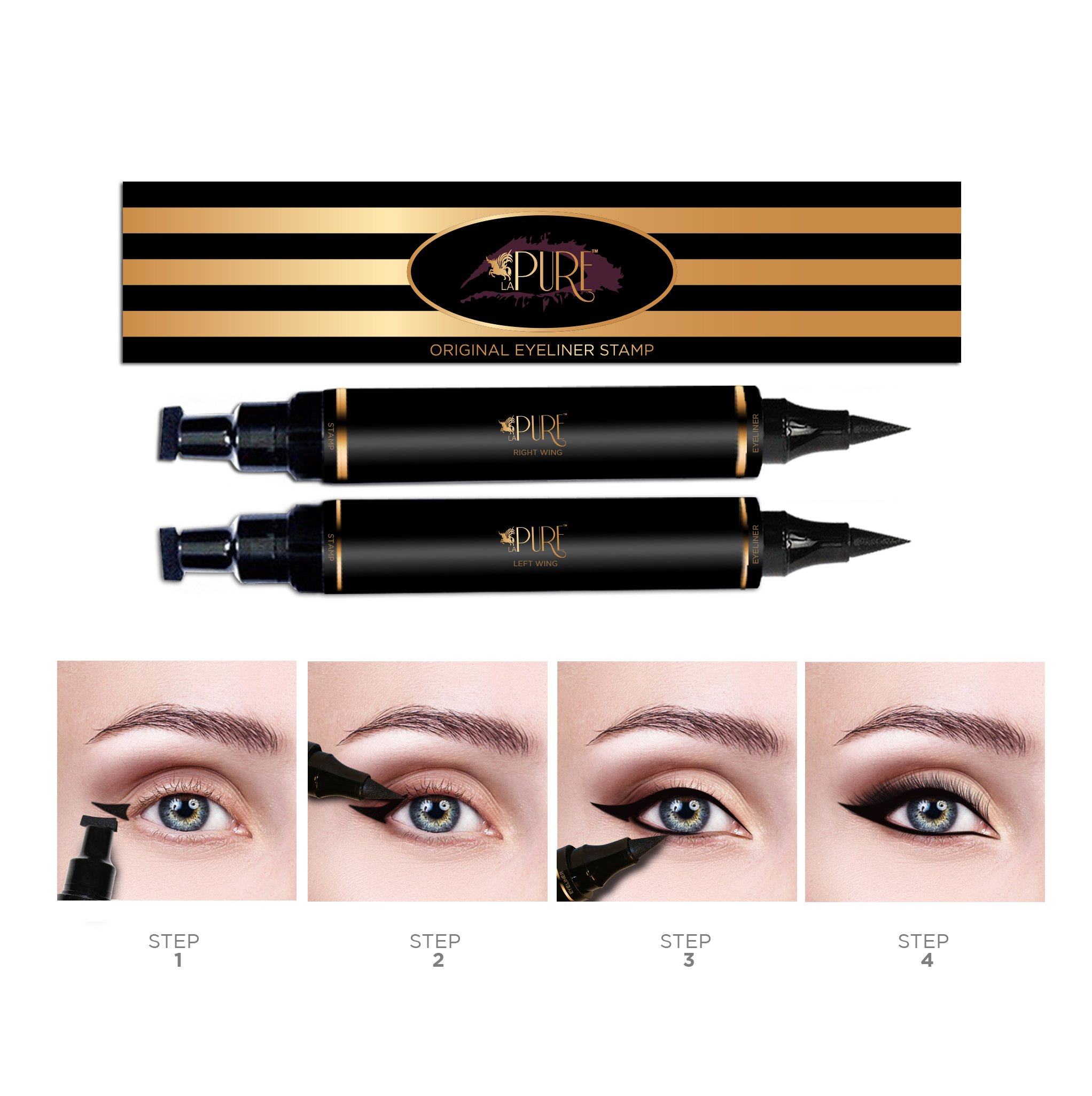 Original Eyeliner Stamp by LA PURE (2 Pens) - 2 double-sided pens, winged liquid eyeliner stamp & pencil, Vamp style wing, smudgeproof, waterproof, long-lasting, No Dripping (10mm Original) by LA PURE (Image #3)