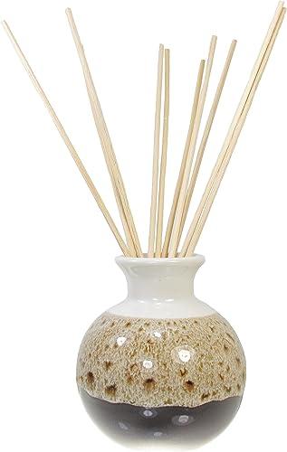 Ceramic Aroma Oil Diffuser Vase, Glazed Finish 10 Diffuser Rattan Reed Sticks, 10 inches Long Each